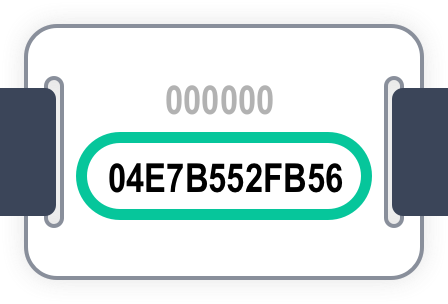 Wristband long code shown on the back of a wristband chip
